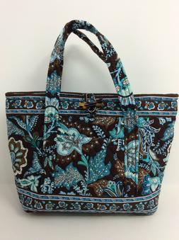 VERA BRADLEY Java Blue & Brown Toggle Tote Purse Bag Medium