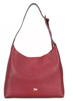 MICHAEL KORS JUNIE MEDIUM HOBO PEBBLED LEATHER Maroon Red PU