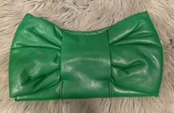 UNBRANDED Kelly Green Barbie Pink Bow Small Faux Leather Clu