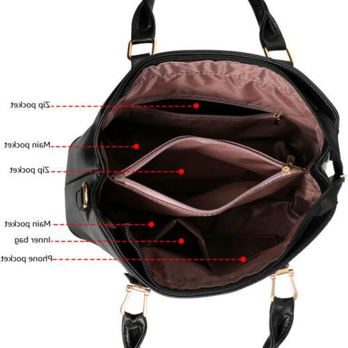 2set PU Leather Handbag Shoulder Tote Purse