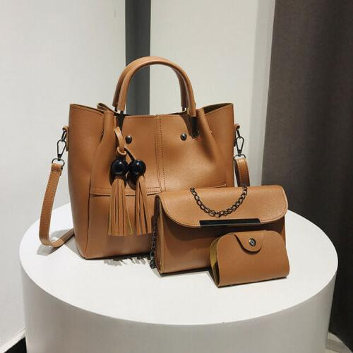 3PCS Women Lady Leather Handbag Shoulder Bag Satchel Messeng