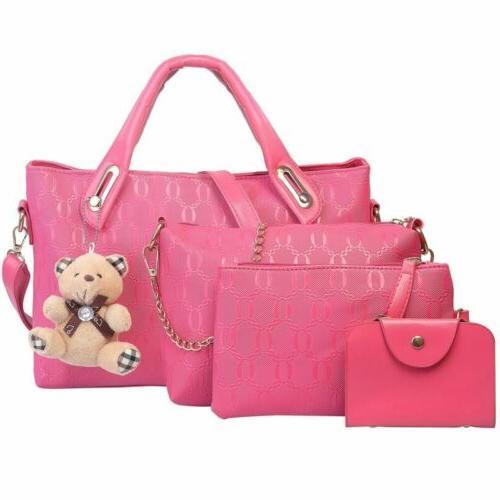 4Pcs/Set Lady Handbags Tote Satchel Purse