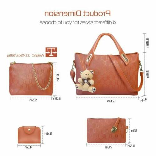 4pcs set women lady leather handbags messenger
