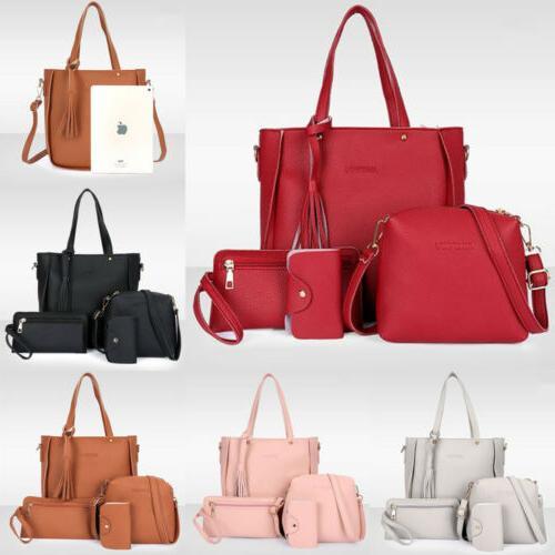 4pcs set women lady leather shoulder bag
