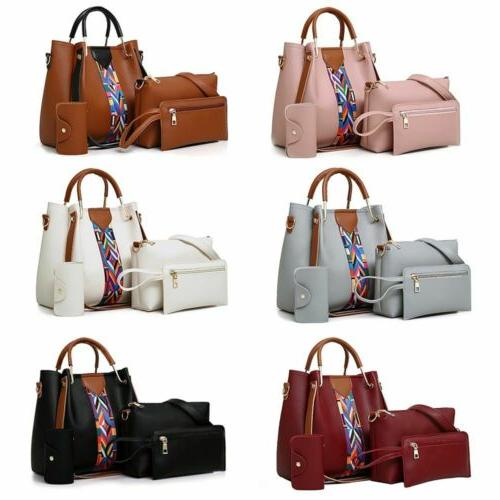 4pcs set women leather handbag shoulder tote