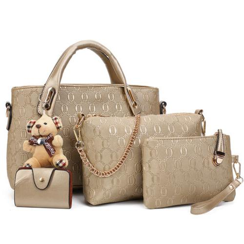 4Pcs/Set Lady Leather Handbags Tote