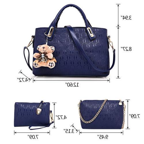 4pcs/set Women Handbag Tote Purse Satchel