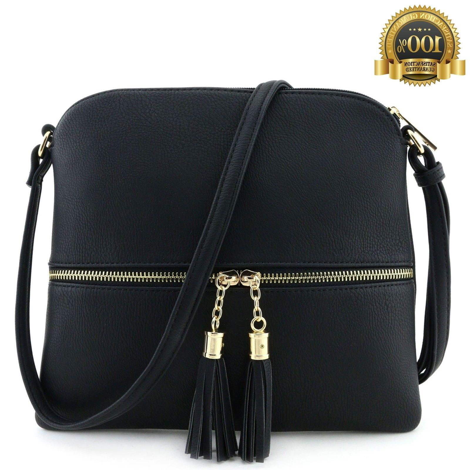 Lightweight Medium Crossbody Bag Tassel Black Top Deluxity B