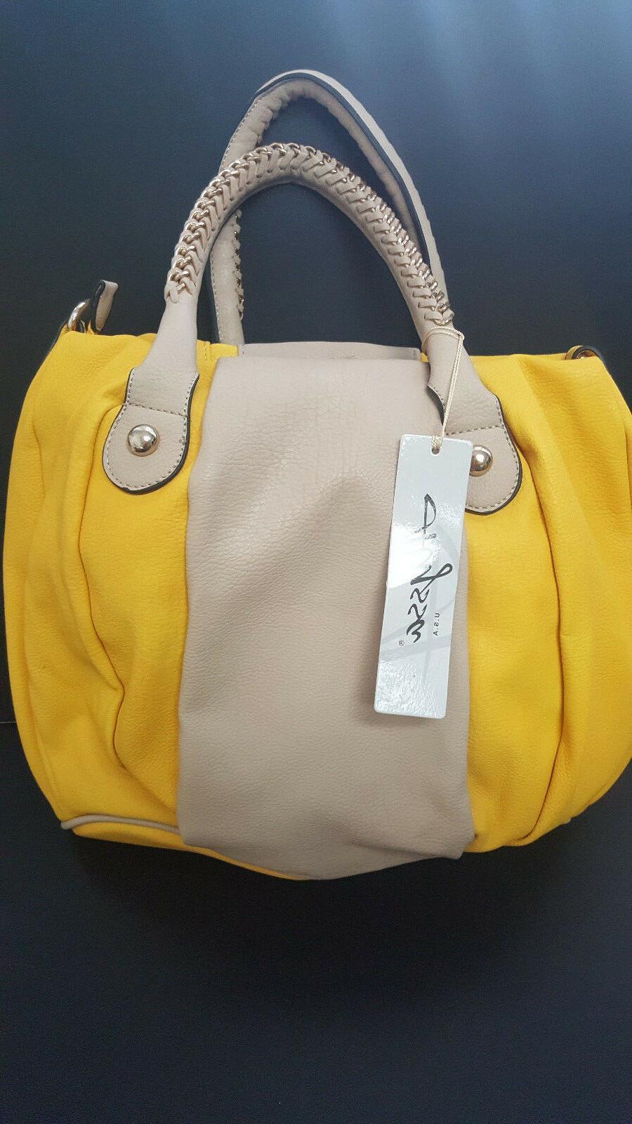Alyssa ALS0033 Braided Handle Golden Tan Stripe