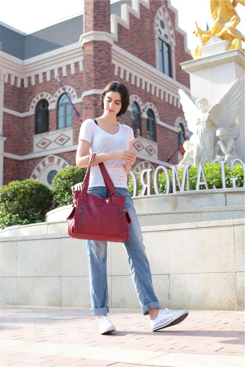 Angelkiss Women's Fashion Tote bag Multiple Purses Handbag Soft Leather