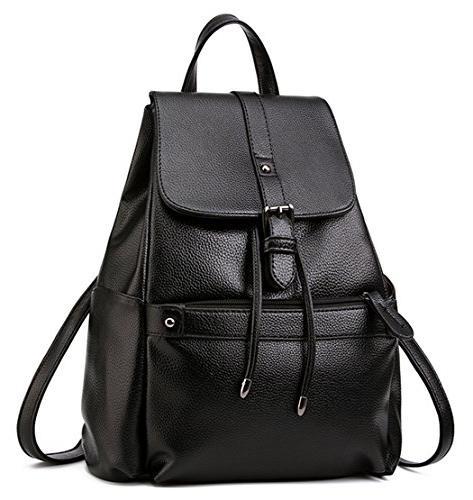 bag leather college backpack shoulder
