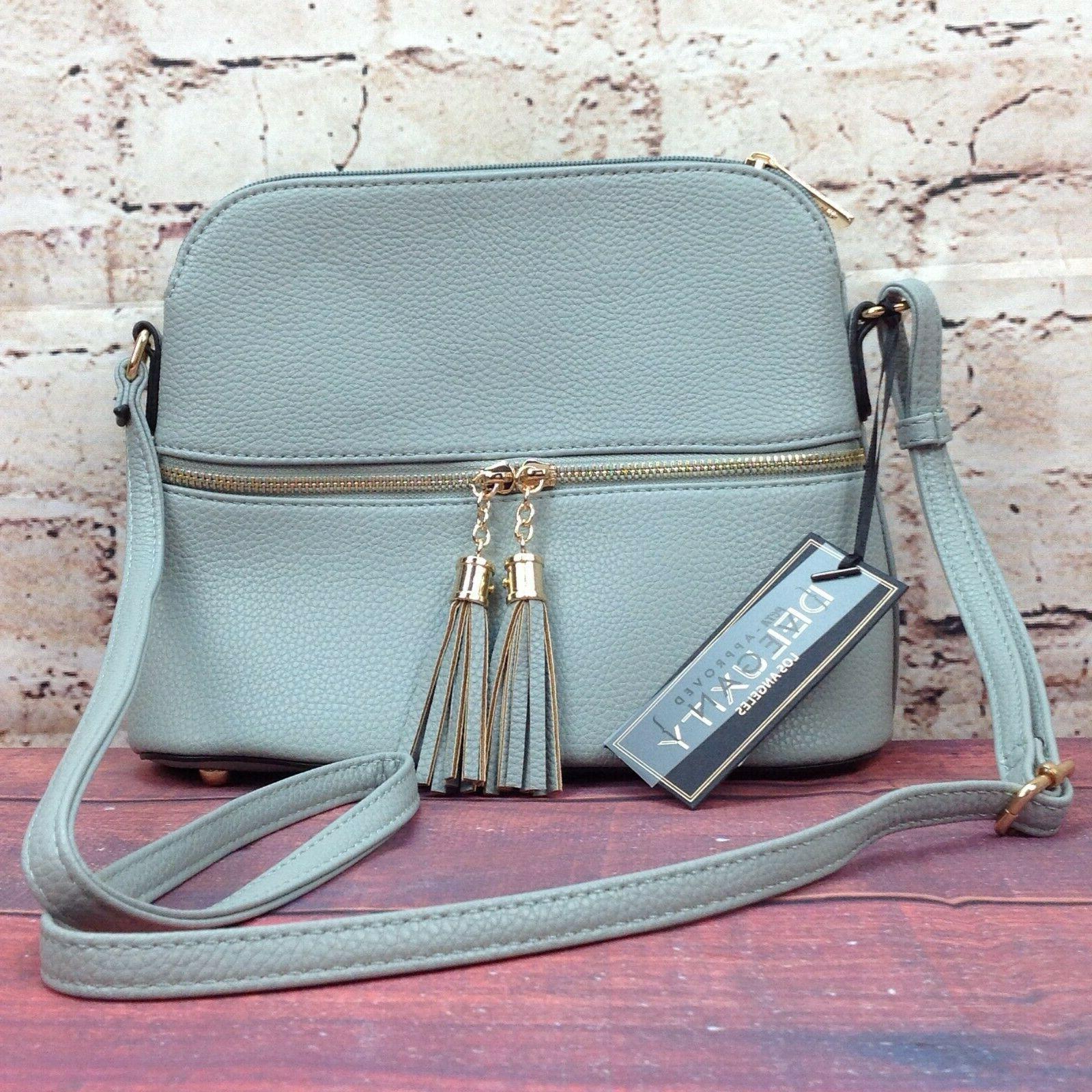 bella tassel charm purse gray crossbody medium