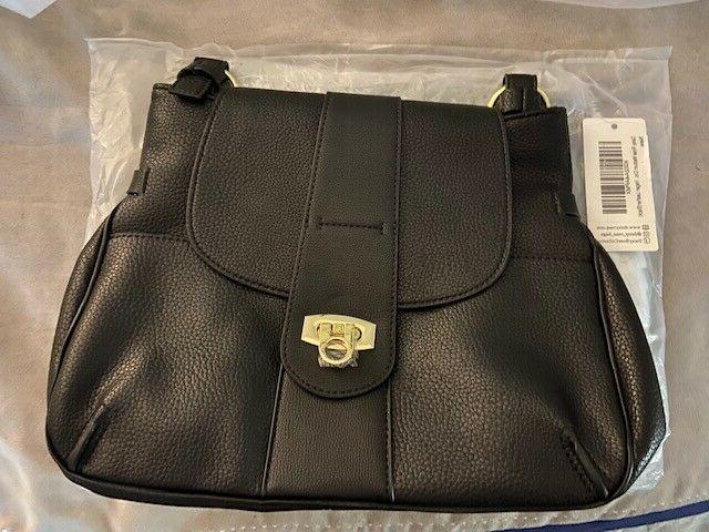 black vegan leather purse