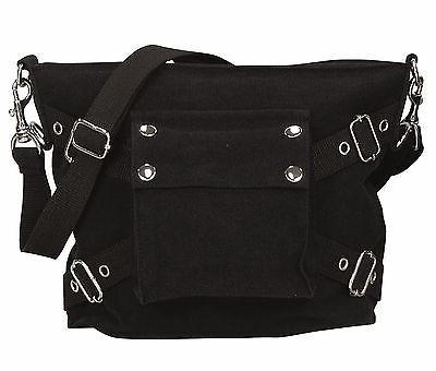 Women's Black Vintage 1-Pocket Shoulder Bag - Cotton Canvas