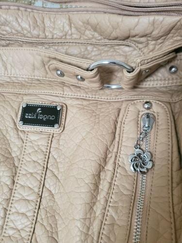 Angel Kiss Boho Distressed Shoulder Bag Purse Tan