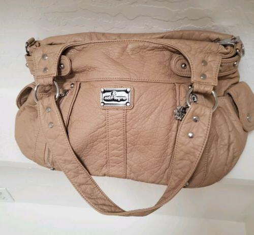 boho distressed shoulder hobo bag purse tan