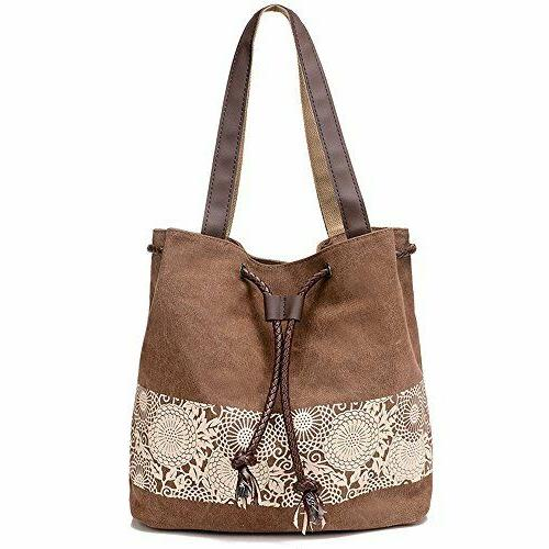 brown canvas shoulder bag retro casual purse
