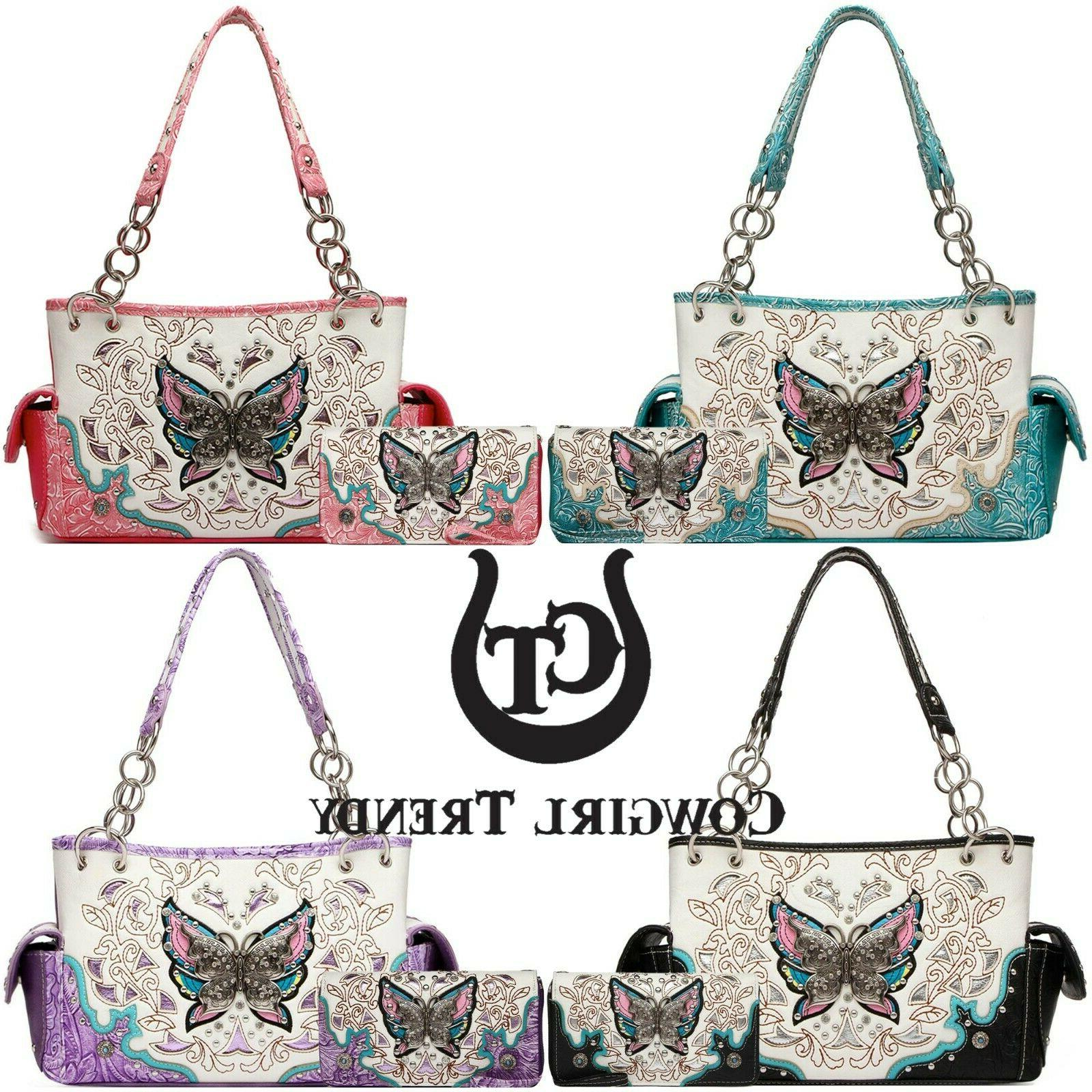 butterfly western style handbag concealed carry purse