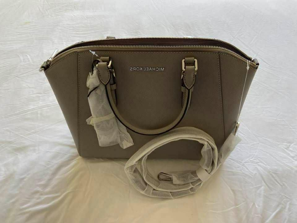 Michael Kors Large Saffiano Leather Bag Cement Pearl Grey