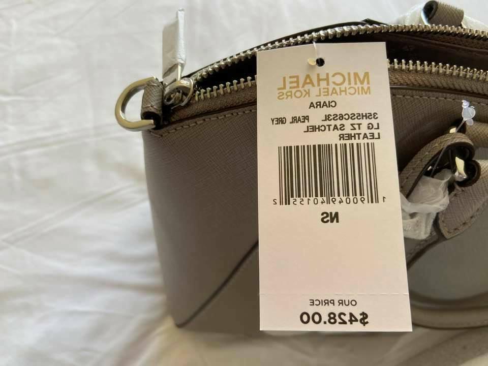 Michael Saffiano Leather Bag Pearl