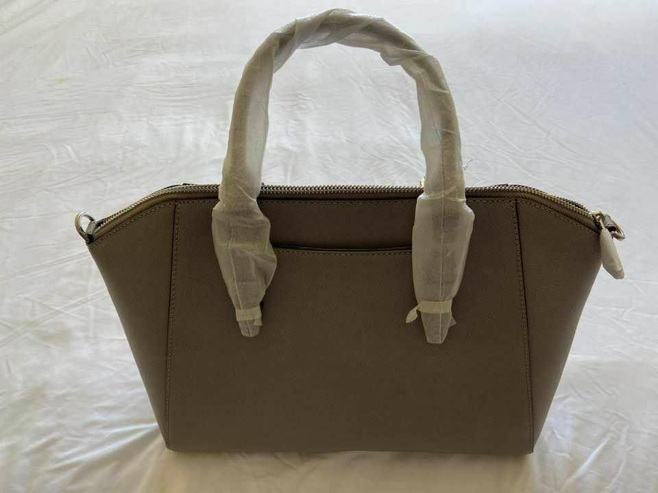ciara large saffiano leather bag cement pearl