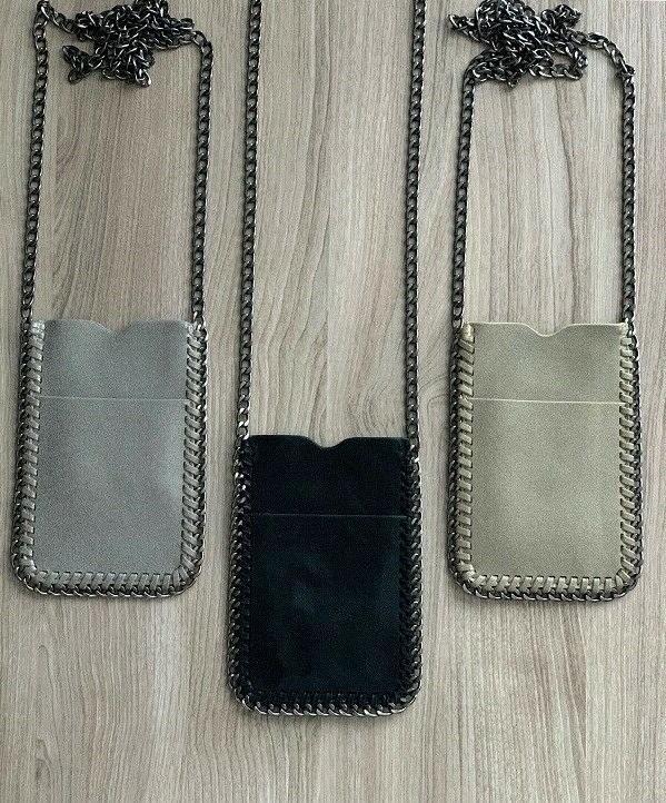 crossbody bag phone pouch chain trim shaggy
