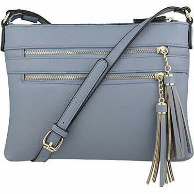 crossbody bags vegan multi zipper handbag purse