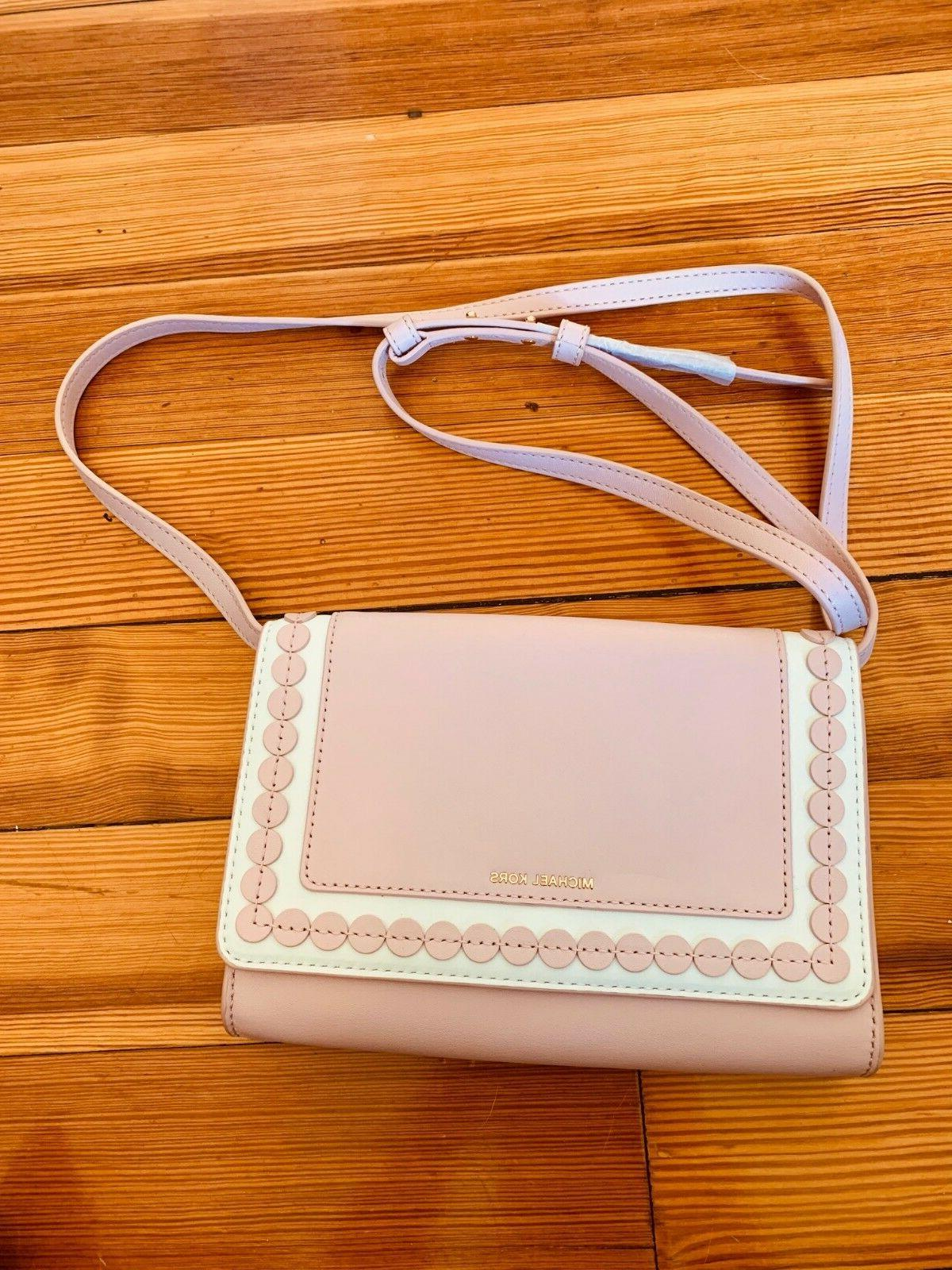 Designer pink white leather crossbody purse
