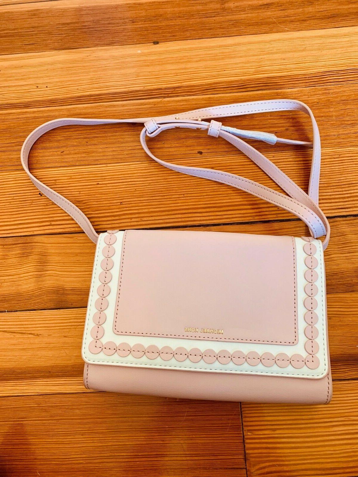 Designer pink white leather crossbody purse