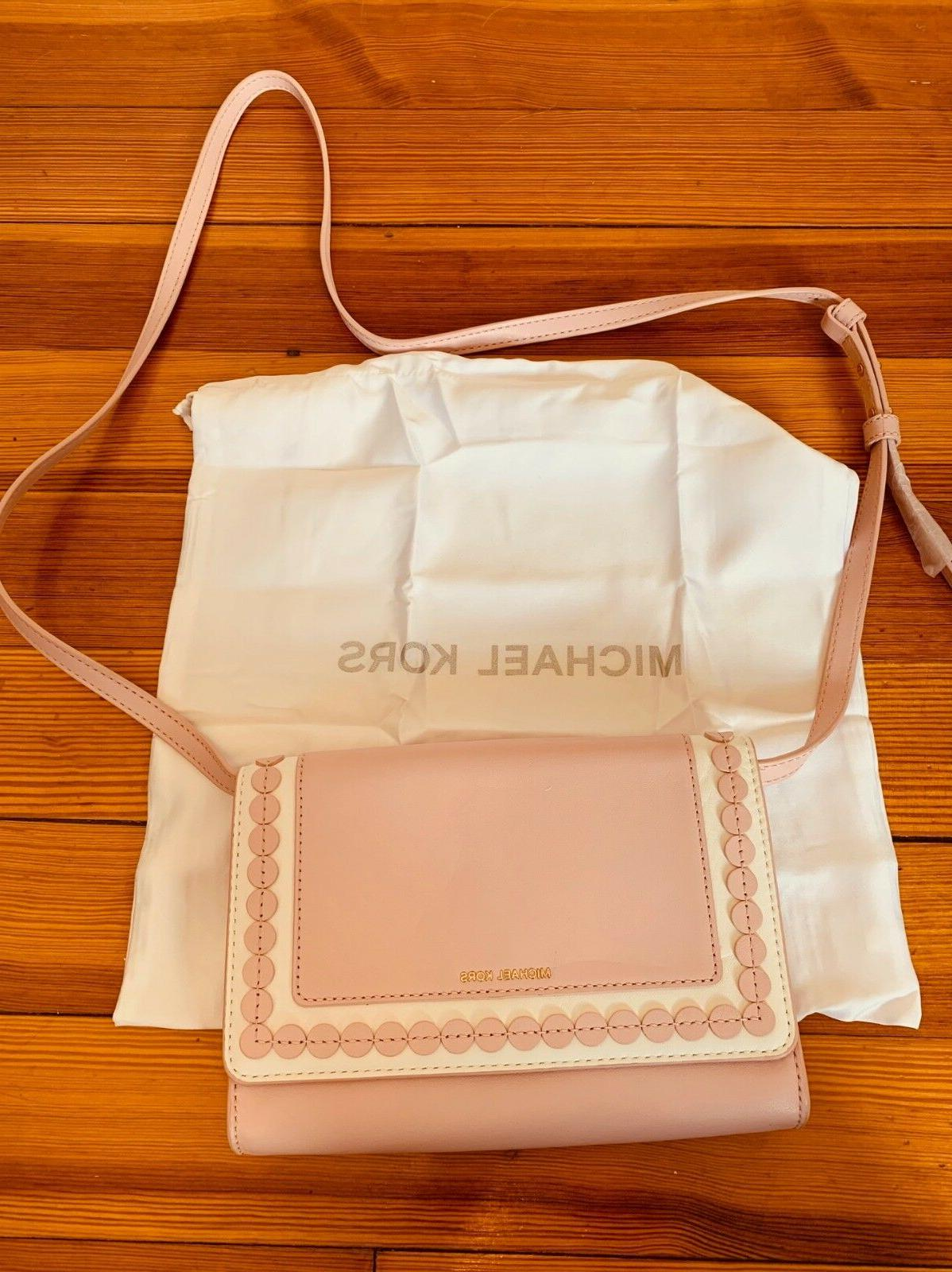 Designer Michael Kors pink white leather crossbody small