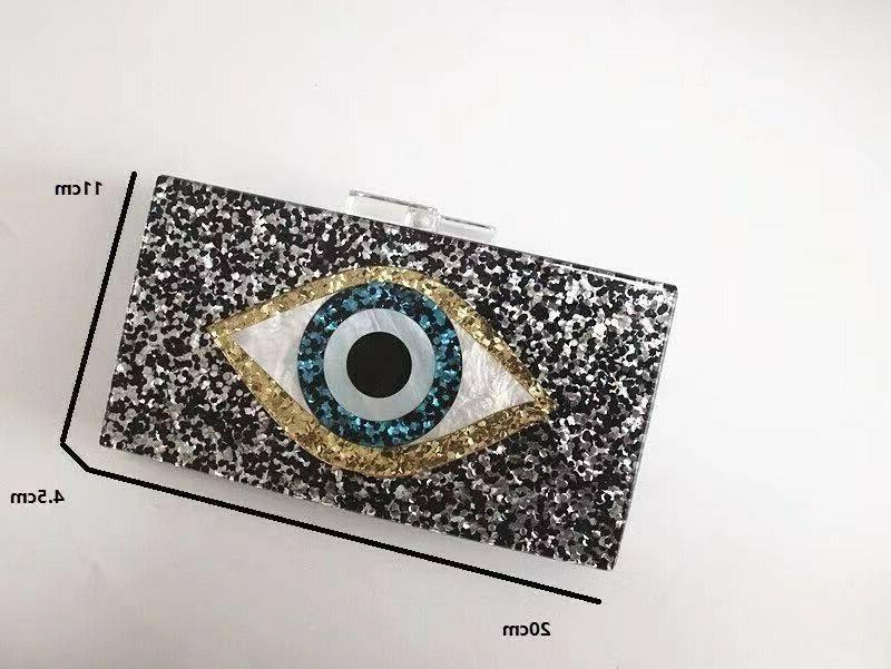 Devil Eyes Women Glitter Evening Bags Acrylic Box Clutch
