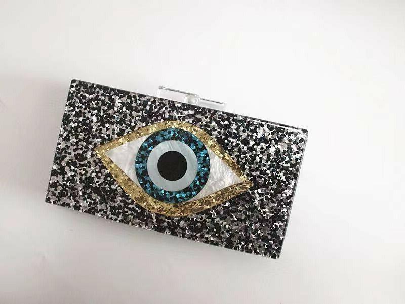 devil eyes women glitter evening bags acrylic