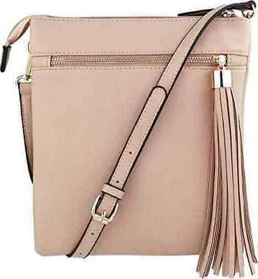 double zip pocket crossbody handbag purse w