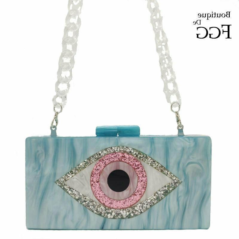 evil eyes glitter women evening bags acrylic