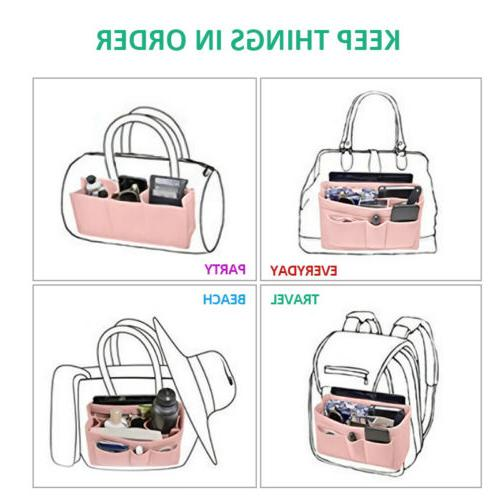 Multi Pocket Handbag Organizer Felt Purse fits Colors