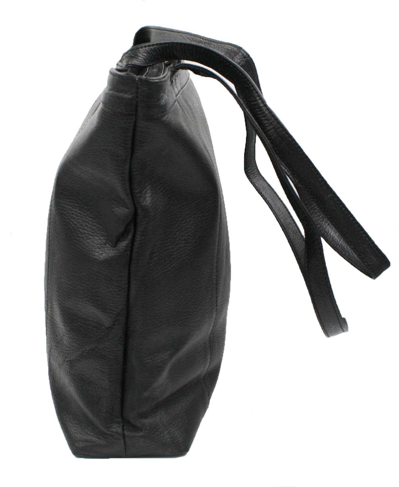 Genuine Leather Black Tote Large Handbag Purse