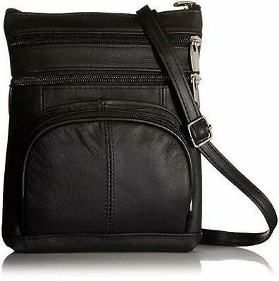 genuine leather multi pocket crossbody purse handbag