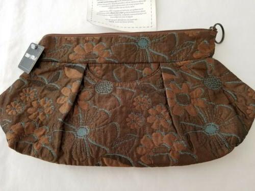 handmade clutch purse priss brown blue flowers