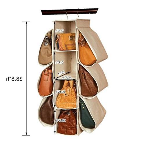 LONGTEAM Hanging Purse Organizer Nonwoven 10 Pockets Bag
