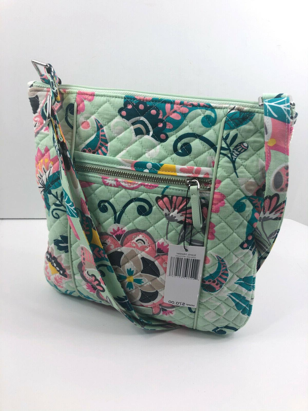 iconic hipster mint flowers green crossbody purse