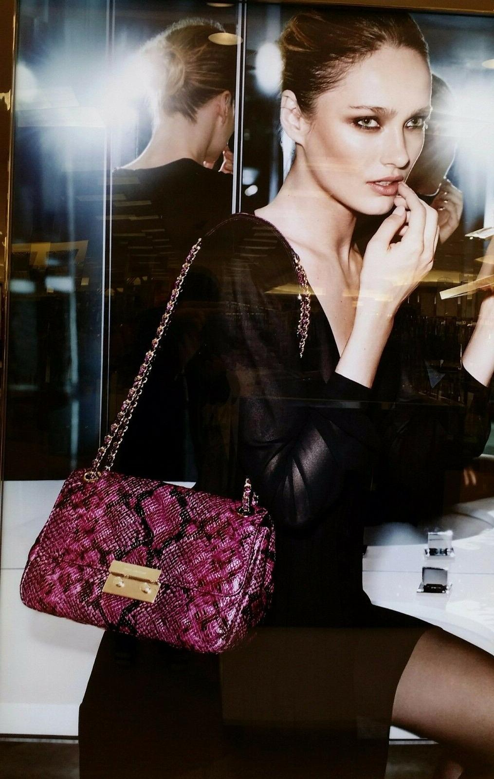 MICHAEL Quilted Purse Black Fuschia New