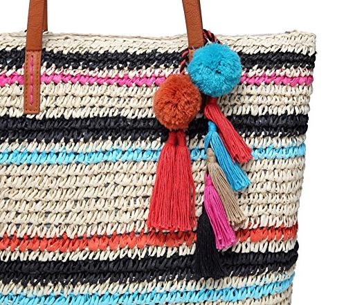 Beach Tote Bag Pom Pouch Leather Multi Color