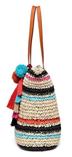 Daisy Straw Beach Bag with Pom Inner Pouch Leather Handles, Multi