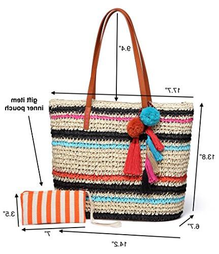 Daisy Rose Large Beach Bag with Pom Poms and Inner Multi Color