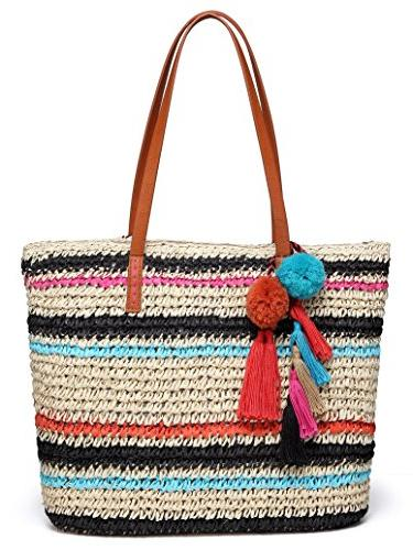 large straw beach tote bag with pom