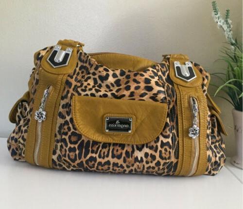 leopard purse big 7 compartments woman