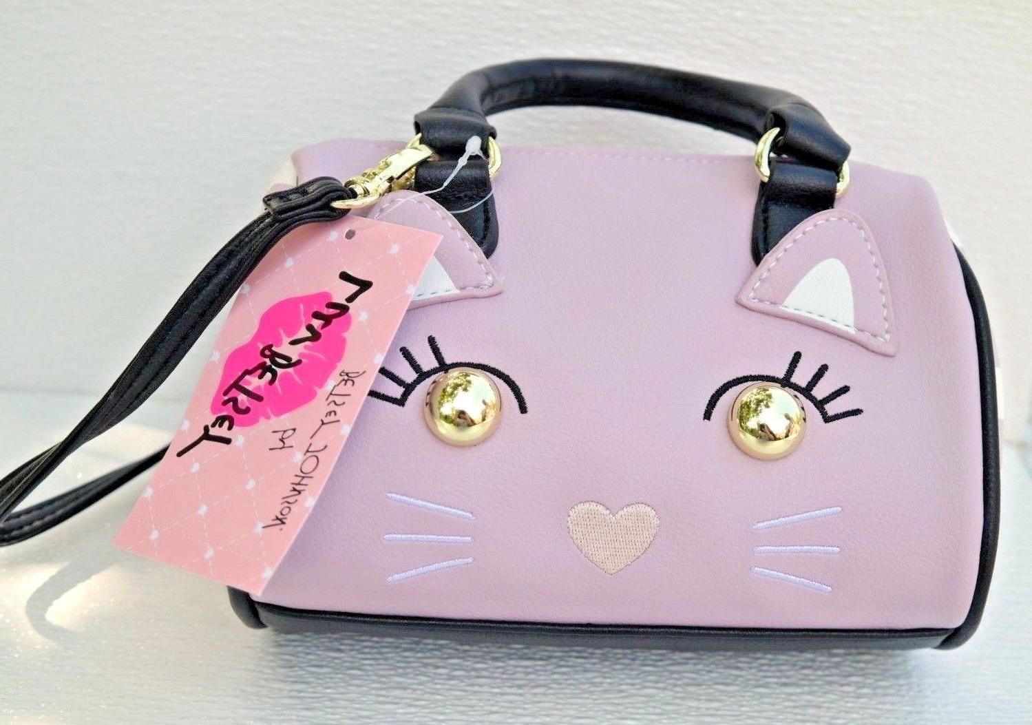 luv mini barrel satchel mauve cute cat