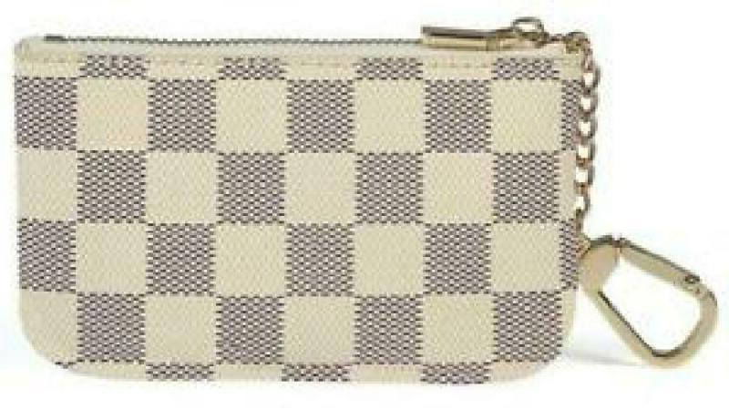 luxury zip checke key chain pouch pu