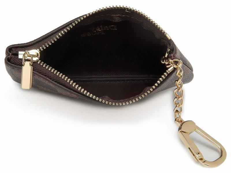 Daisy Rose Zip Checke Key Chain | Vegan Leather Mini