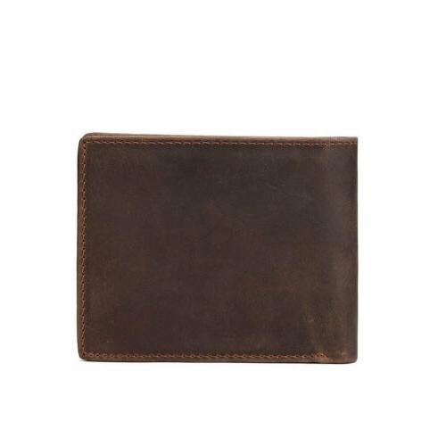 Men's Leather Bifold Vintage Coin Card Holder